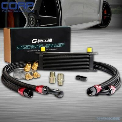 Gplus 13 ROW Thermostat Adaptor Engine Racing Oil Cooler Kit For Car/Truck BK