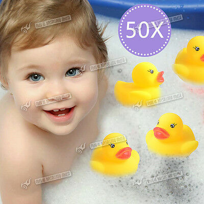 50 Small Kids Bath Rubber Duck Toys Bath time Fun Time Floating Water NEW Ducks
