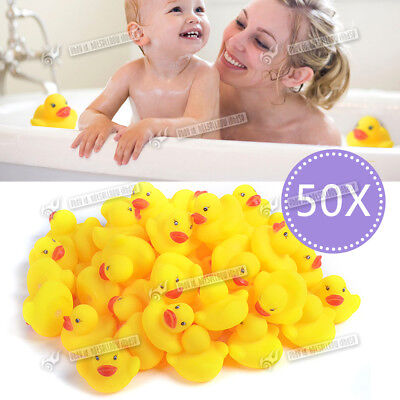 50 Yellow Rubber Ducks Bathtime Squeaky Bath Toy Water Play Kids Toddler