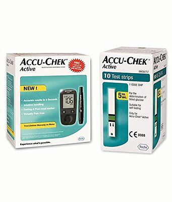 Accu Chek Active Blood Glucose Meter Kit With 10 Strips Free