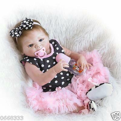 """23"""" Whole Silicone Body Reborn Baby Doll Girl Lifelike Baby Doll Kids Gift Toy"""