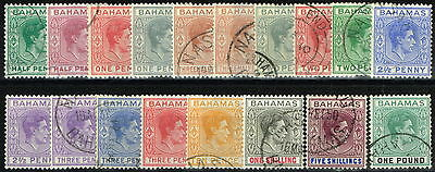 Bahamas 1938 set of 18 SG149-157a (both 1 1/2d) Superb Used