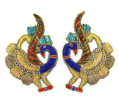 Peacock Patches Craft Applique Multicolor Indian Beaded Appliques Patch 1 Pair
