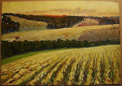 Russian Ukrainian Soviet Oil Painting Village Landscape harvest field of wheat