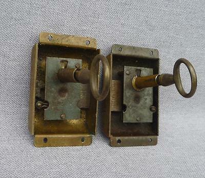 Pair of antique french door locks, early 1900's made of bronze with key