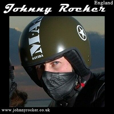 Johnny Rocker Davida style black open face leather mask