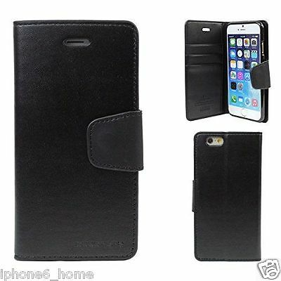For iPhone 6 and 6s Genuine MERCURY Goospery Black Flip Case Wallet Cover