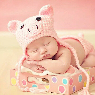 Baby Girl Boy Piggy Beanie Hat Cap Photo Props Crochet Knitted 0-3, 3-6 Months