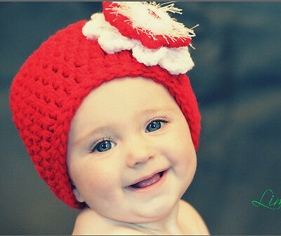 Baby Girl Red Flower Beanie Hat Cap Photo Props Crochet Knitted 0-3, 3-6 Months