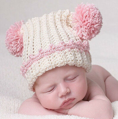 Baby Girl Pink Ball Beanie Hat Cap Photo Props Crochet Knitted 0-3, 3-6 Months