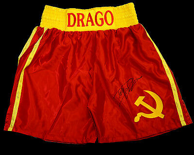 Dolph Lundgren ' Rocky 4' Signed Red Replica Boxing Trunks