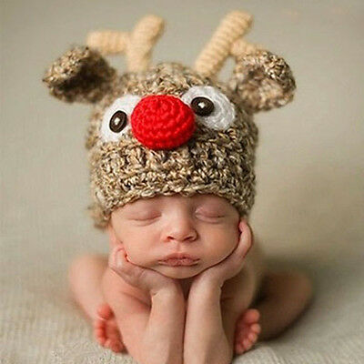 Baby Boy Girl Reindeer Beanie Hat Cap Photo Props Crochet Knitted 0-3, 3-6 Mths