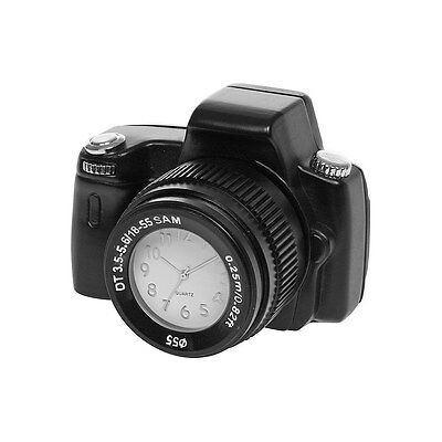 Miniature Black Techno Camera Mini Novelty Desktop Collectors Clock