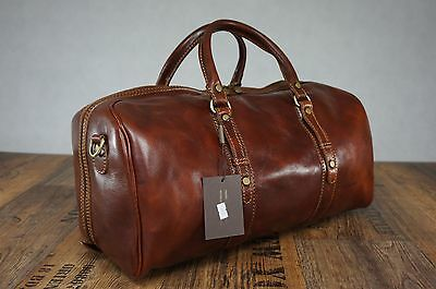Genuine Italian Leather Duffle Weekend Travel Overnight Gym Bag Luggage Holdall
