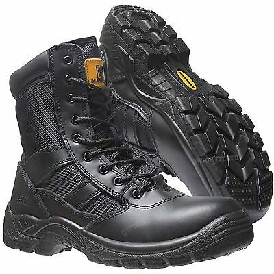 Mens Army Police Military Combat Lightweight Work Steel Toe Cap Safety Boots Z