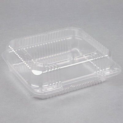 """(250-Pack) 8"""" x 8"""" x 3"""" Clear Hinged Lid Plastic Container"""