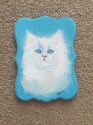 Original Acrylic Painting On Wood Of Kitten