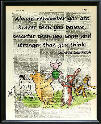 "Dictionary Art Print-Winnie the Pooh ""Always remember..."""