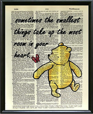 "Dictionary Art Print-Winnie the Pooh ""Smallest things take up the most room..."""