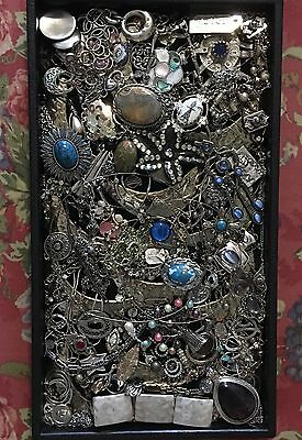 Lot Of 75+ Pieces Of Silver Tone Jewelry