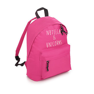 Nutella Unicorns Backpack School Bag Fashion Tumblr Hipster Slogan Fun Cute Swag
