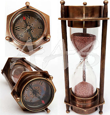 Maritime Brass Nautical Compass Hourglass Antique Sand Timer~Desk Accessory Gift