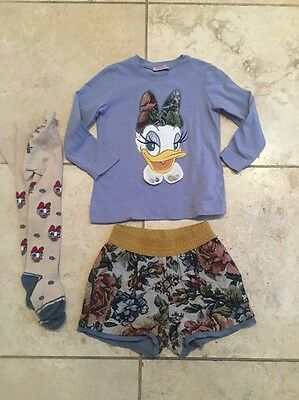 Monnalisa Daisy Duck Top Shorts And Tights Age 3 Girls Designer Excellent Con