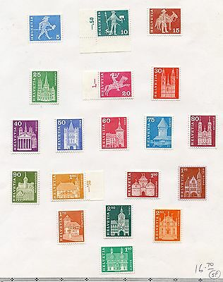 Weeda Switzerland Page of definitives with high values face CHF 16.70, fresh!