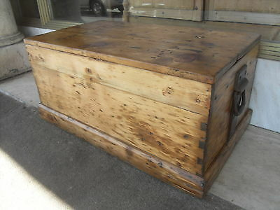 Victorian Antique Pine Blanket Box / Chest / Trunk With Industrial Handles