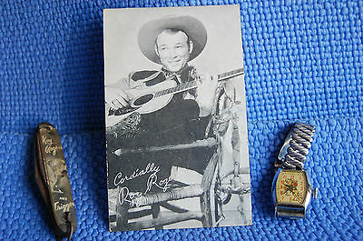 Roy Rogers Antique Watch expandable band, Colonial Knife & Cabinet Card