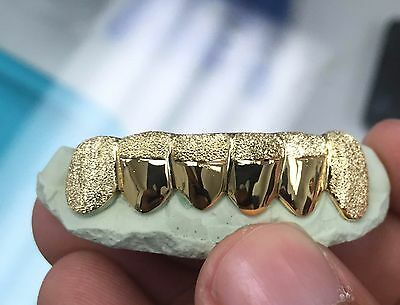 Custom 10K Gold or 14K Plated Silver Gold Grillz Diamond Dust Tip Punchout Grill