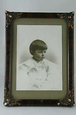 Victorian Wood and Gesso Frame with Photo of Child Wire Stand