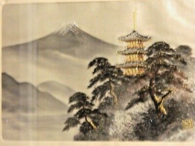 Exquisite Japanese Silk Embroidery Of Mount Fuji/ Temple & Surround Glass Framed