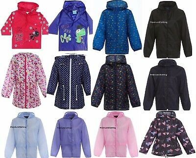 Girls Boys Raincoat Kids Printed Rain Hooded Mac Showerproof Kagoul Kag Coat