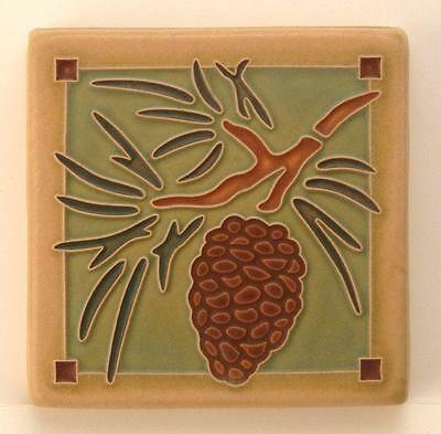 4x4 Arts & Crafts Pinecone Tile in Spruce by Arts & Craftsman Tileworks