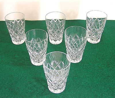 CRYSTAL DIAMOND CUT GLASS x 6 EXCELLENT USED CONDITION