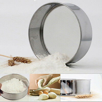 Fine Stainless Steel Mesh Flour Sifting Sifter Sieve Strainer Kitchen Tool