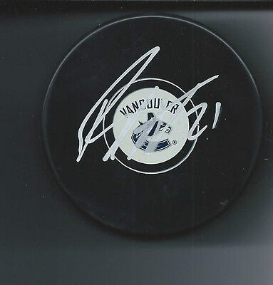 Brandon Sutter Signed Vancouver Canucks Logo Puck Autographed With COA