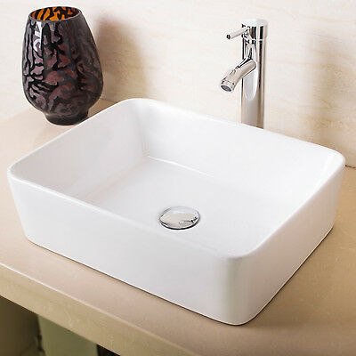 White Rectangular Bathroom Porcelain Ceramic Vessel Sink Basin w/ Faucet & Drain