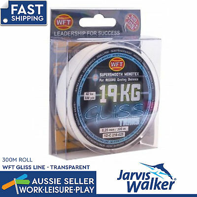 Jarvis Walker Gliss Line 300m 19kg 41lb 0.25mm Transparent Fishing Line