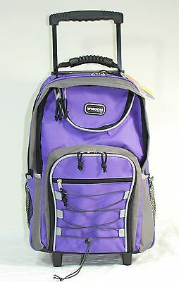 "20"" Purple Large Rolling Backpack Wheeled School Bookbag Travel Carry-On Bag"