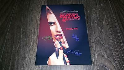 "Scream Queens Cast X3 Pp Signed 12""x8"" A4 Photo Poster Lea Michele Emma Roberts"