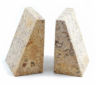 Set of heavy cream fossil stone marble wedge book ends bookends for home & gift
