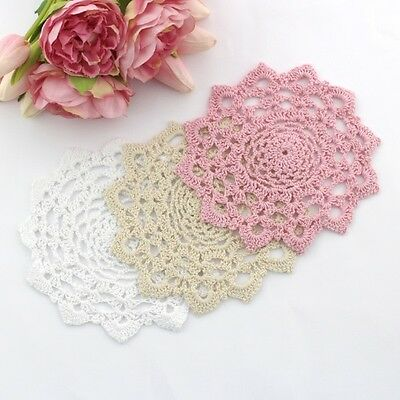 Crochet doilies white, cream and pink 18 cm for millinery , crafts