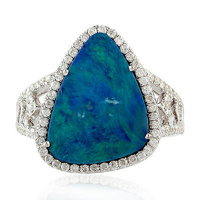 Natural Diamond Pave Australian Opal Cocktail Ring 18kt White Gold Women Jewelry