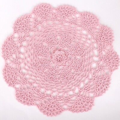 Crochet doily in pink 25 cm for millinery , hair and crafts