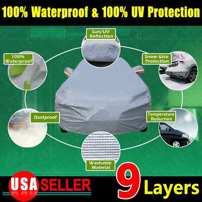 FULL CAR COVER Snow Wind Dust Resistant Waterproof UV Outdoor Protection 3XL US