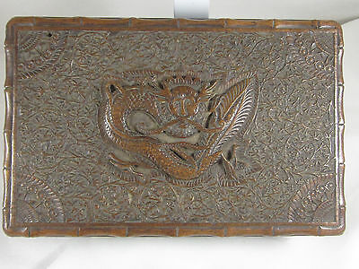 ANTIQUE CHINESE GAURANTEED: 19th CENT HAND CARVED DRAGON MOTIF BOX