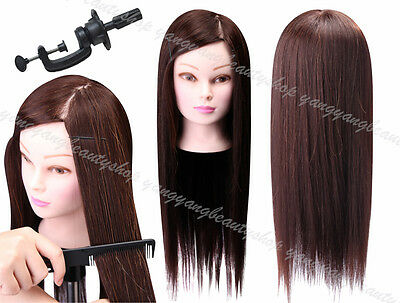 """75% Real Hair Hairdressing Training Head 22"""" Cosmetology Mannequin Head Dummy"""