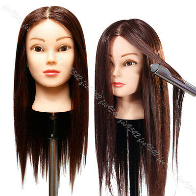 85% Real Brown Hair Professional mannequin heads 22'' Styling Practise Doll